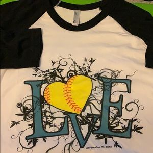 New Love Soft Ball T-shirts XS, S & XL made in USA